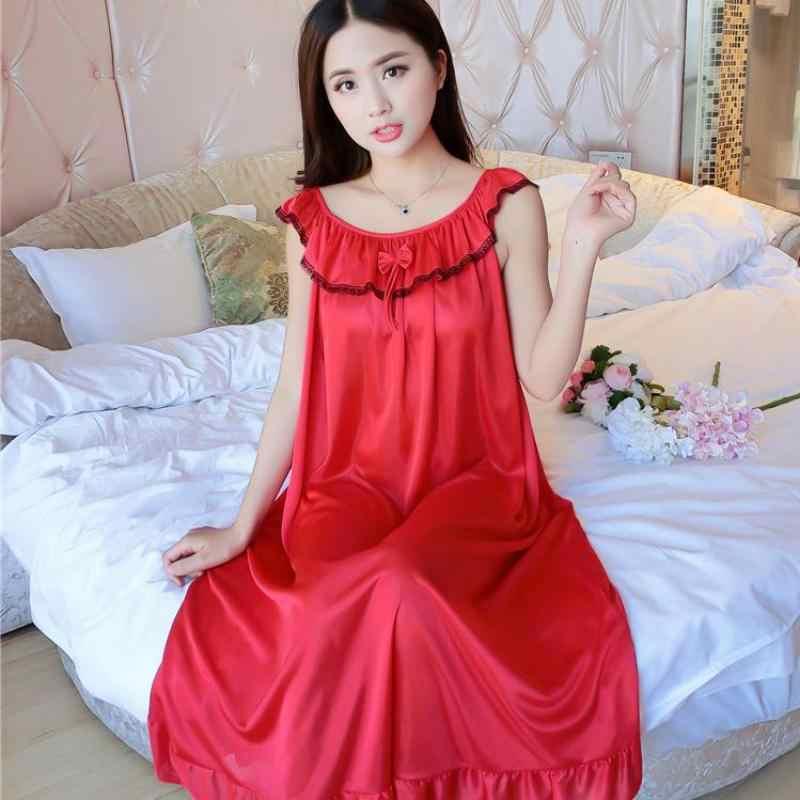 One Size Ladies Long Nightgown Summer Casual Home Dress Nightshirt  Sleeveless Sexy Sleepwear Faux Silk Nightdress 3b7b0de28