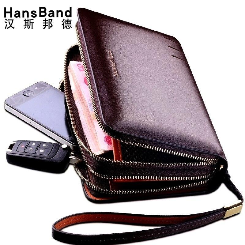 HANSBAND Men's Genuine Leather Long Wallet Famous Brand Luxury Male Card Holder Double Zipper Phone Wallet Wristlet Cluth Purse цена 2017