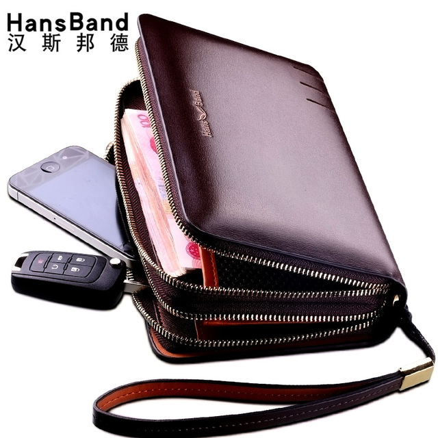 HANSBAND Men's Genuine Leather Long Wallet Famous Brand Luxury Male Card Holder Double Zipper Phone Wallet Wristlet Cluth Purse