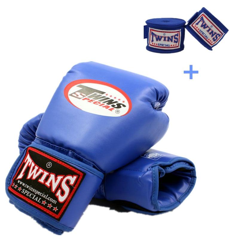 8-14 oz gants De boxe & bandage main PU cuir Muay Thai Guantes De Boxeo mma sac De sable formation gant pour hommes femmes enfants 5 couleurs