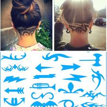 16Pcs/Pack Pro Hair Styling Tattoo Template Stencil DIY Hairdressing Model Trimmer Salon