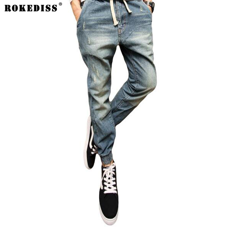 Fashion Men's Ripped Denim Pants Casual Mens Joggers Male Biker Jeans Pant Men Harem Pants Korean Slim Fit Hip Hop Man TC925 jeans men s blue slim fit fashion denim pencil pant high quality hole brand youth pop male cotton casual trousers pant gent life