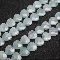 14mm Natural Blue Aquamarines Stone Beads Heart Spacer Loose DIY Beads For Jewelry Making Beads Accessories 15'' Women Gift