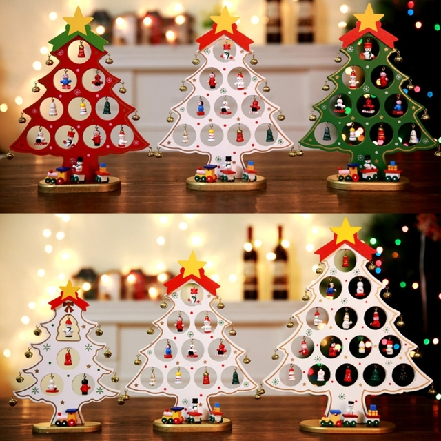 durable non toxic small wooden christmas tree table decorations festival desk ornaments party gift - Small Christmas Decorations