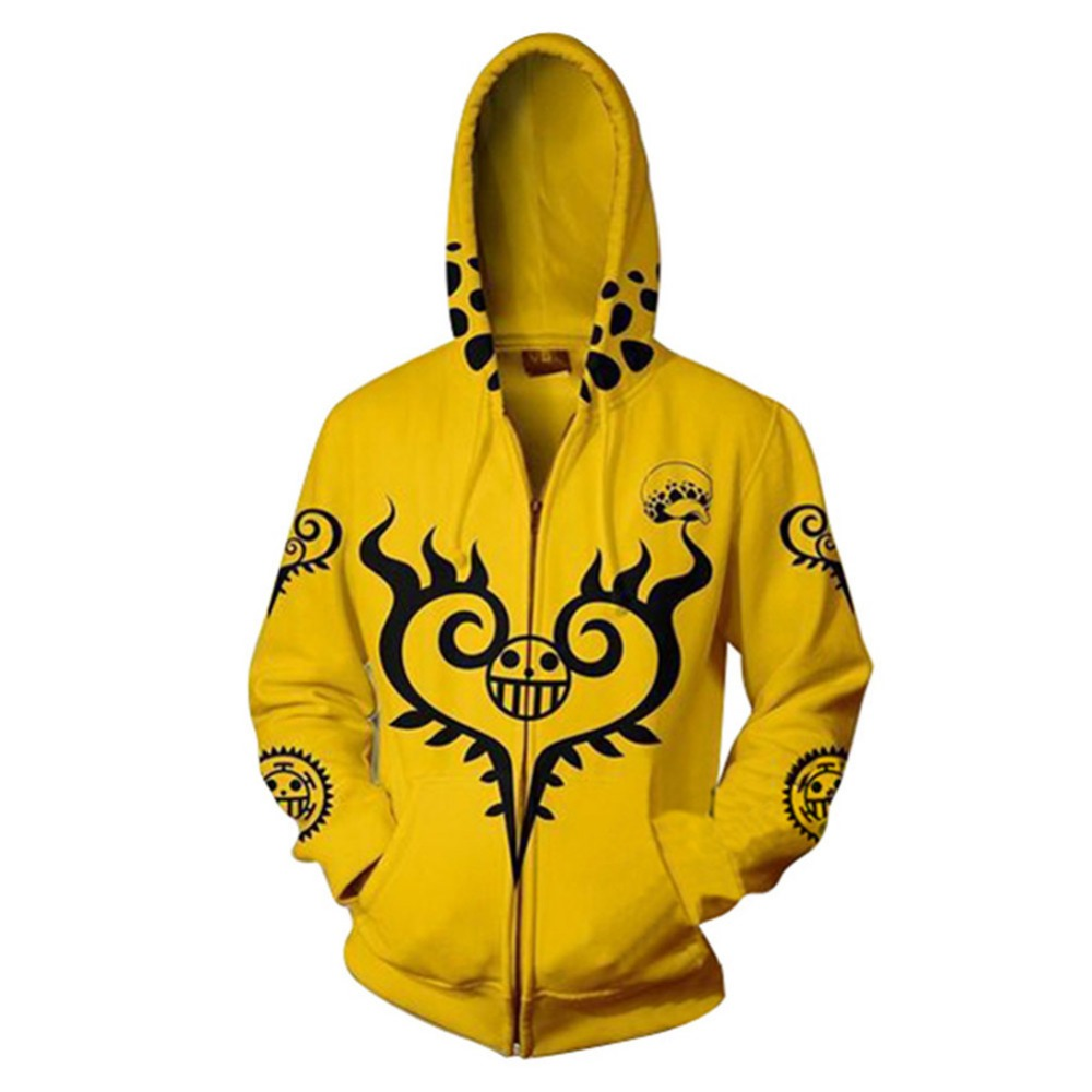 ONE PIECE Cosplay Hoodie Jacket Coat Hooded Zipper Up Cap Adult Men Women Yellow Hoodie