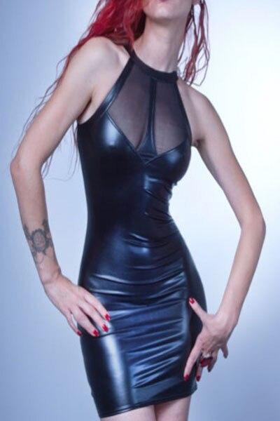Frauen Patchwork Mesh Pu-leder Kleid Sexy Dünne Wet Look fetisch Bondage Bodycon Mini Kleid S-XXL Nacht Club Wear Pole tanzen