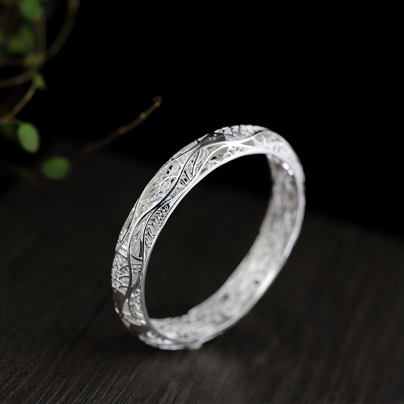 999 sterling silver openwork bangles silver fashion carp play lotus pattern silver bangles 999 for women silver jewelry 999 цена 2017