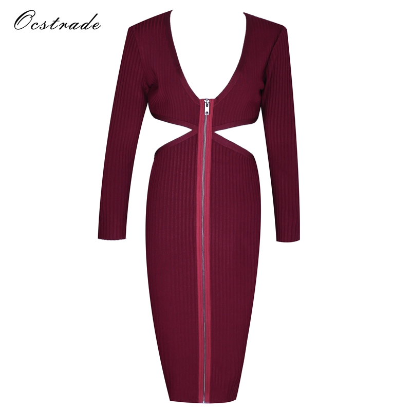 Ocstrade Merry Christmas and Happy New Year Long Sleeve Bandage Dress 2017 New Arrivals Dark Red