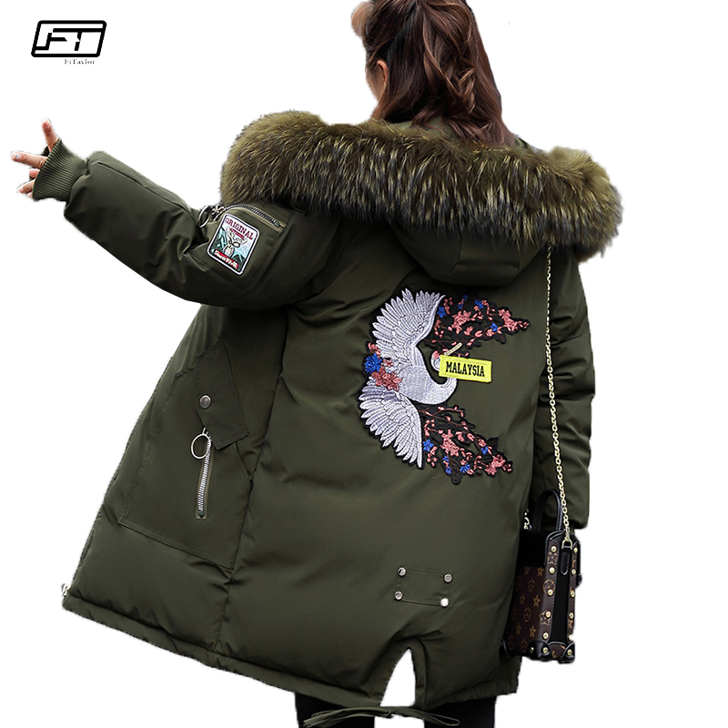 Fitaylor Winter Jacket Women Thick Warm Fur Hooded   Parka   Mujer Embroidery Big Size Loose Jackets Female Cotton Padded Long Coat