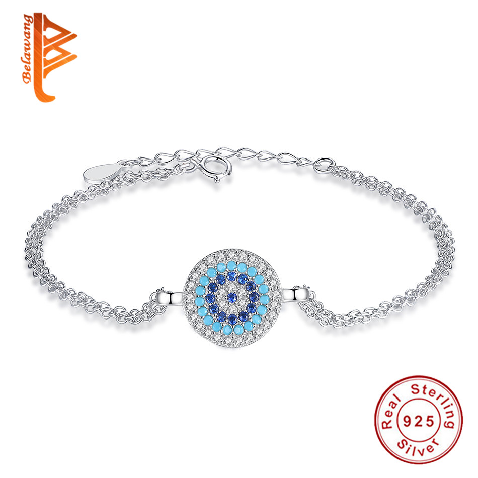 BELAWANG Authentic 925 Sterling Silver Round Bracelet Adjustable Chain Blue Crystal Lucky Eyes Charm Bracelets for Women JewelryBELAWANG Authentic 925 Sterling Silver Round Bracelet Adjustable Chain Blue Crystal Lucky Eyes Charm Bracelets for Women Jewelry