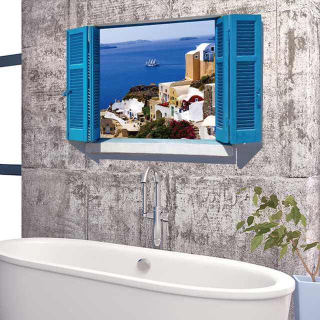 Can Remove The 3D Visual Ocean View Window Stickers Fake Bedroom Living  Room Bathroom Toilet Paper