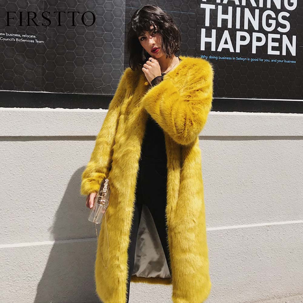 FIRSTTO Fashion Faux Fur Long Warm Outerwear Stylish Woman Yellow O-Neck Hairy Shaggy Faux Fur Winter Jackets Loose Coat Tops цена