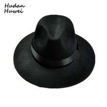 Retro Cap Chapéu de aba larga Fedora Chapéus de Lã chapéu De feltro Preto  Jazz preto banda casual cowboy cowgirl hat chapeau pan. 3c9fdcb7cb8
