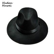Retro Cap Chapéu de aba larga Fedora Chapéus de Lã chapéu De feltro Preto  Jazz preto banda casual cowboy cowgirl hat chapeau pan. 17408117ef0