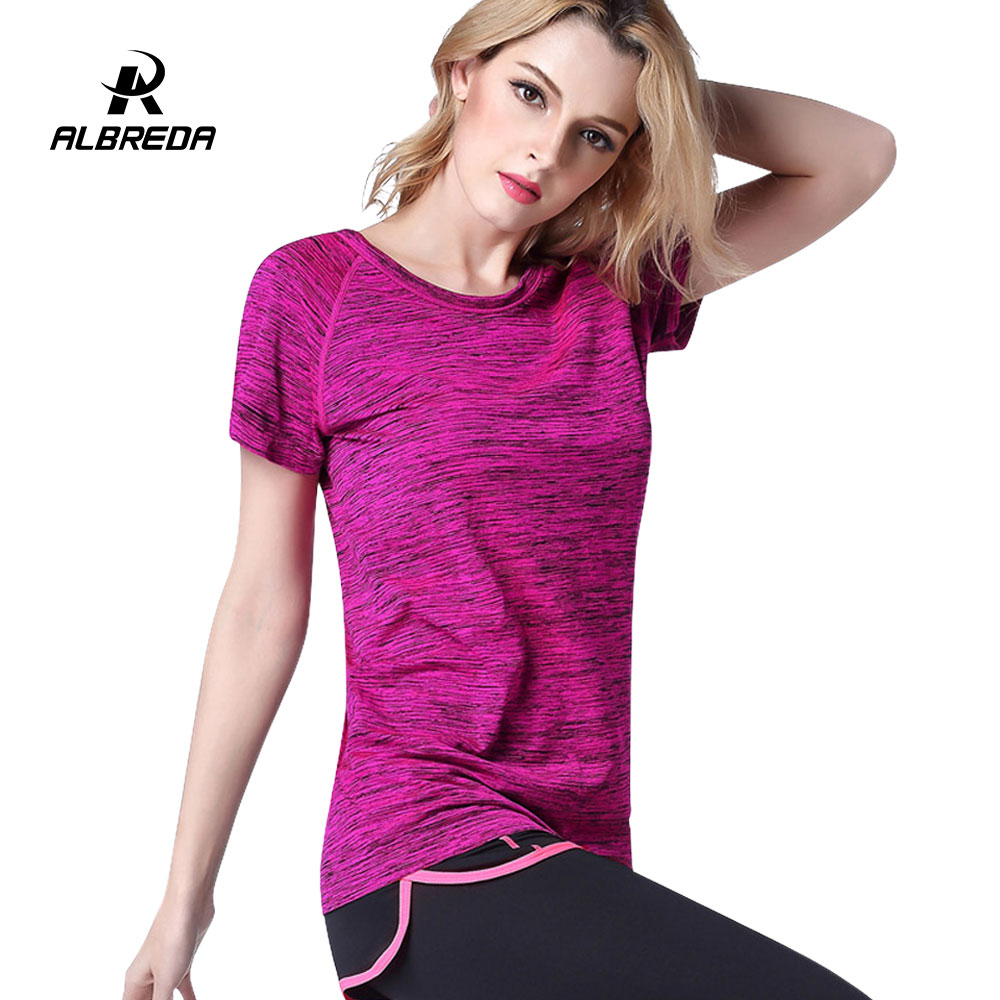 ALBREDA 2018 Female Yoga Gym Workout Tees Summer Clothes T-shirt Running Shirt Clothing Women Fitness Sports Quick Dry Tops