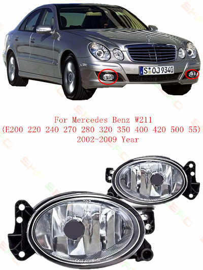 For mercedes-benz W211  E200/220/240/270/280/320/350/400/420/500/55  2002/03/04/05/06/07/08/09  Fog Lights car styling  Oval for mercedes benz w163 1998 99 2000 01 02 03 04 05 car styling fog lights 1 set