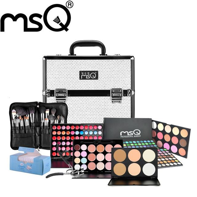 MSQ Brand Pro Fashion Conjunto de maquiagem 8 Kind Of Cosmetics Pruducts Specialty Aluminum Makeup Case makeup Kit