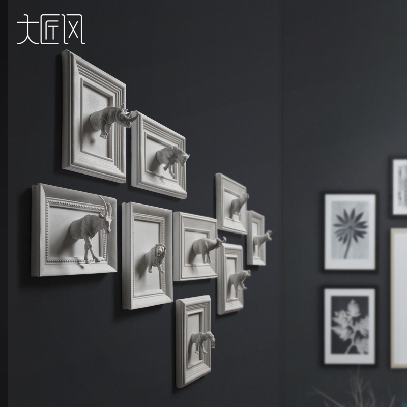 White creative resin 3D Grizzly wall decor home decor animal vintage statue crafts room wall decoration resin animal figurines