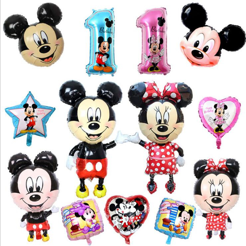 Mickey Mouse 114cm All Manner Of Mickey Minnie Balloons Birthday Wedding Party Decoration Inflatable Balloons Kids Toys Globos