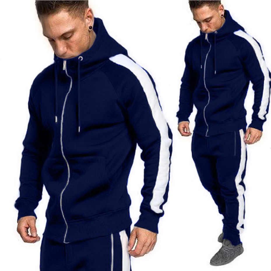 ZOGAA 2019 мужская верхняя спортивная одежда толстовки на молнии наборы спортивной одежды мужские кофты кардиган мужской комплект одежды брюки плюс размер