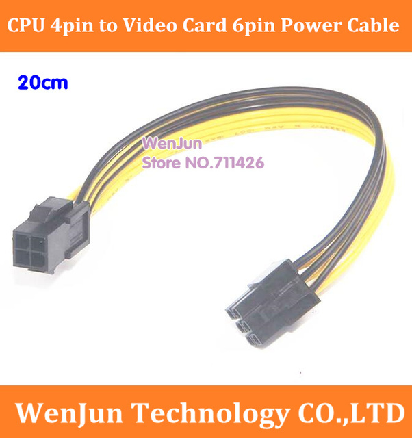 Free Shipping CPU 4pin to PCI E Video Graphic Card 6pin Power Cable ...