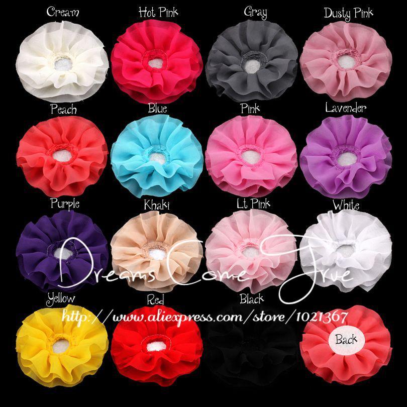 """(200 개/몫) 4 """"15 colors 어린이 액세서리에 대 한 센터없이 다채로운 수 제 다층 쉬폰 인공 직물 꽃-에서인공 & 건조 꽃부터 홈 & 가든 의  그룹 1"""