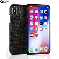 Qosea Voor iPhone X Case 3D Krokodillenleer Luxe Krokodillenleer gedrukt Ontwerp Hard Lederen Case Voor iPhone X 8 Telefoon Terug Cover