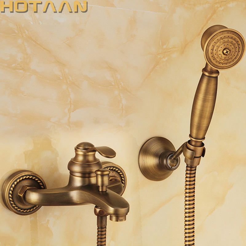 Salle de bains Baignoire Mur Monté Main Antique En Laiton Tête De Douche Kit De Douche Robinet Ensembles YT-5340