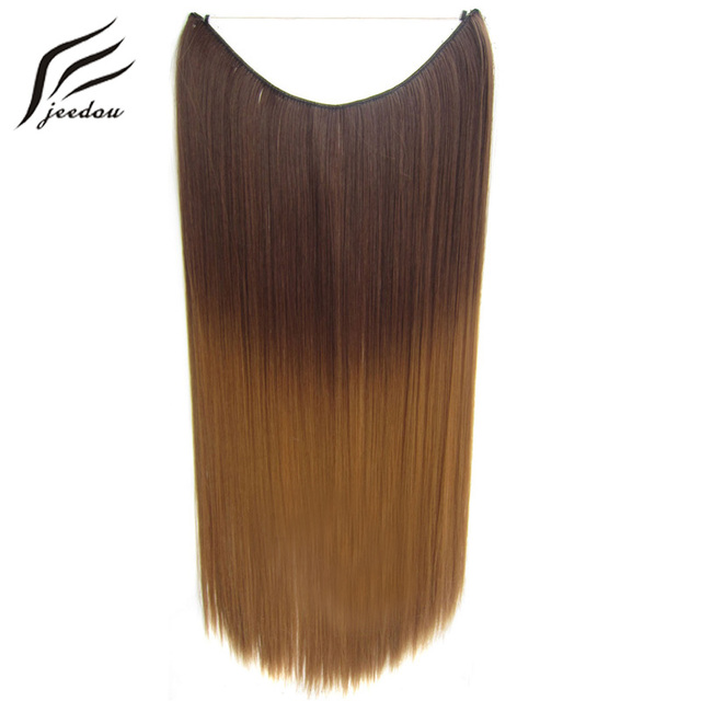 Jeedou 20 Inches Invisible Wire No Clips In Hair Extensions Secret