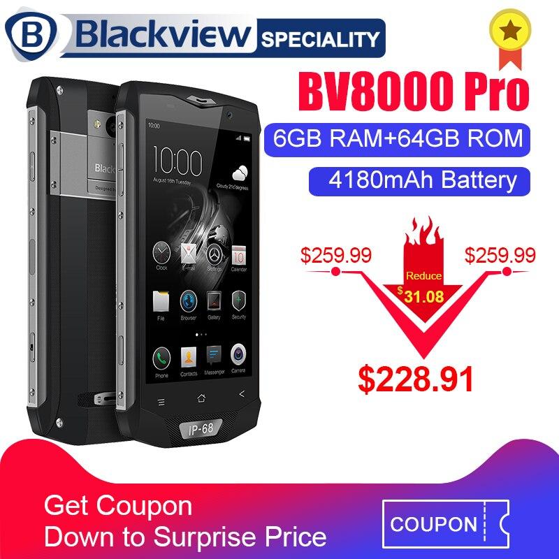 Blackview BV8000 Pro Smartphone étanchéité IP68 MT6757 Octa Core 6G RAM 64 Go ROM 5 pouces 1920*1080 16.0 MP 4G téléphone Android 7.0
