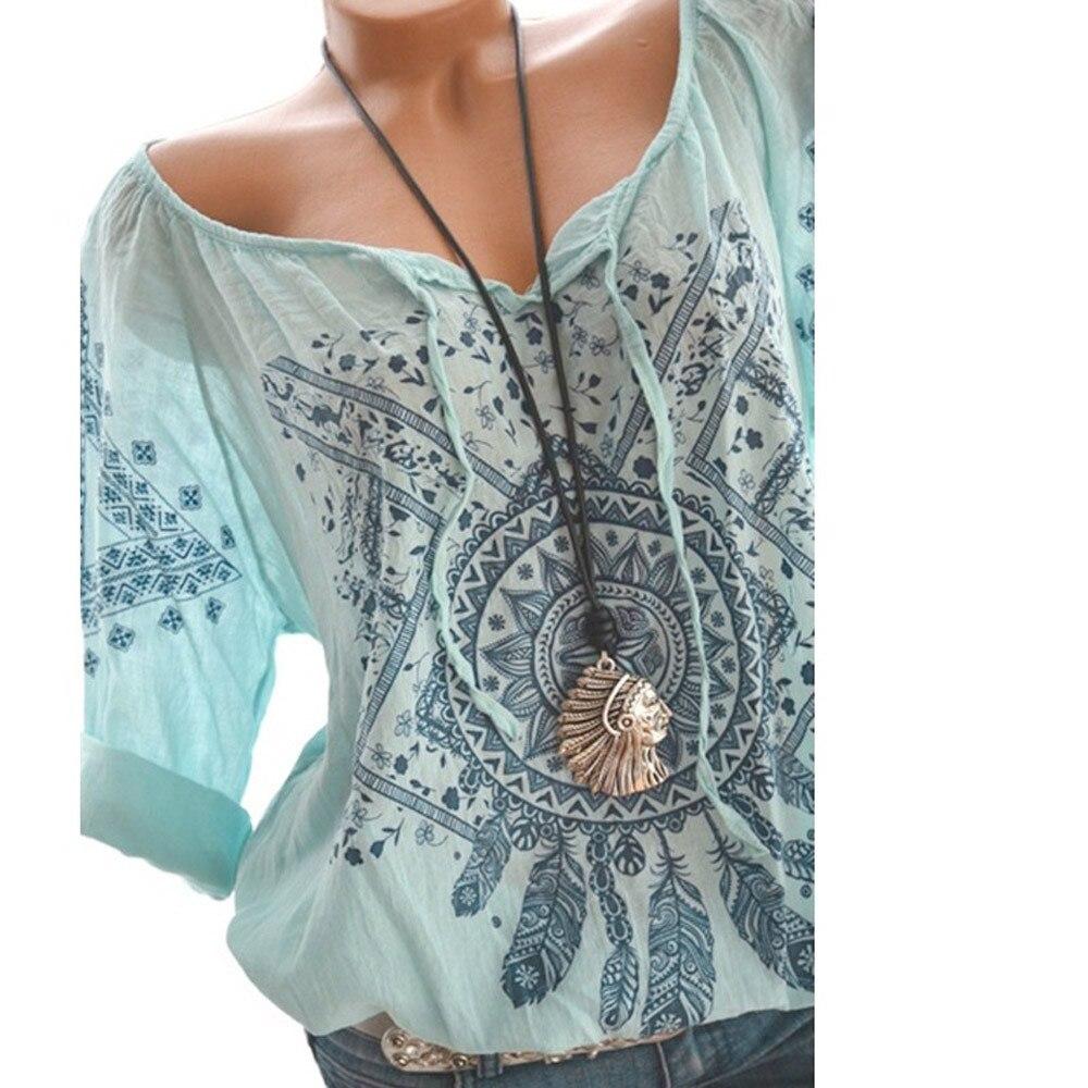 Summer Floral Print Women Blouse Summer Top Plus Size Long Sleeve Shirt Harajuku Printed Blusas Feminina Tops And Blouses#GHC 2