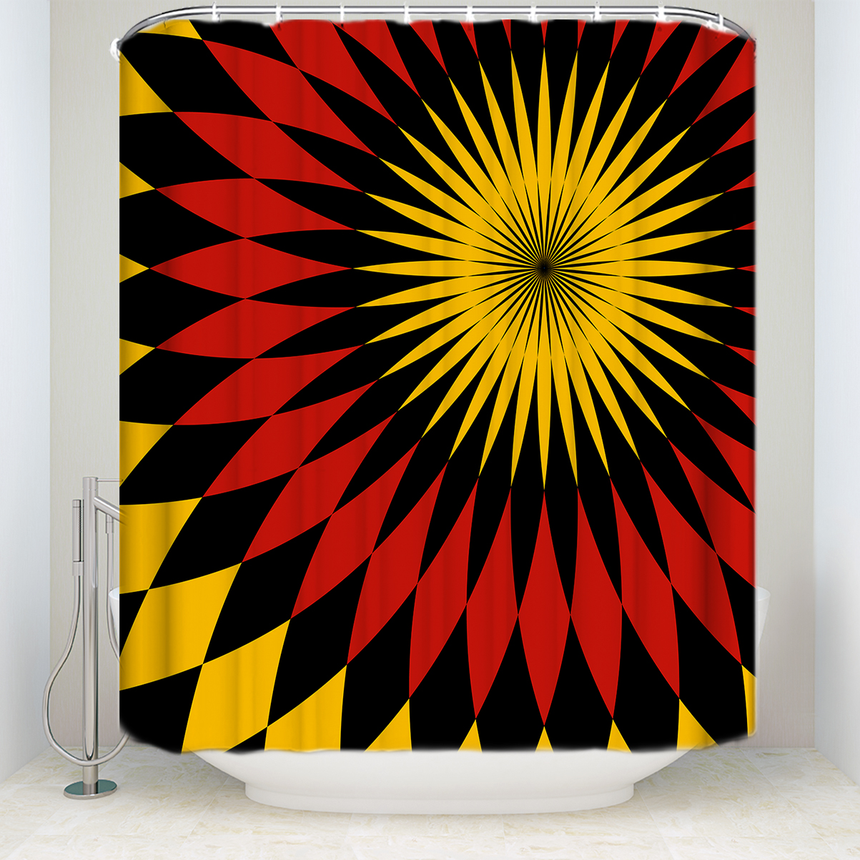 Us 15 42 50 Off New Arrival Waterproof Ethnic Tribe Pattern Shower Curtain Polyester Fabric Red Black Yellow Bathroom Curtains For Home Decor In