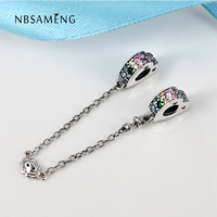 Authentic 925 Sterling Silver Colorful CZ Safety Chain Beads Fit Original Pandora Charm Bracelet 925 Sterling