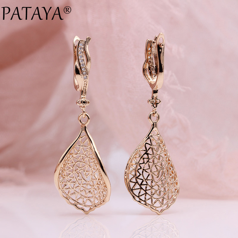 PATAYA New Gift Trendy 585 Rose Gold White Gold Natural Zircon Long Earrings Women Wedding Hollow Irregular Wave Earring Jewelry 3