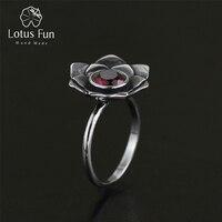 اللوتس متعة ريال 925 فضة الحجر الطبيعي اليدوية الأصلي مصمم المجوهرات خمر نقية لوتس الإناث حلقات بيجو