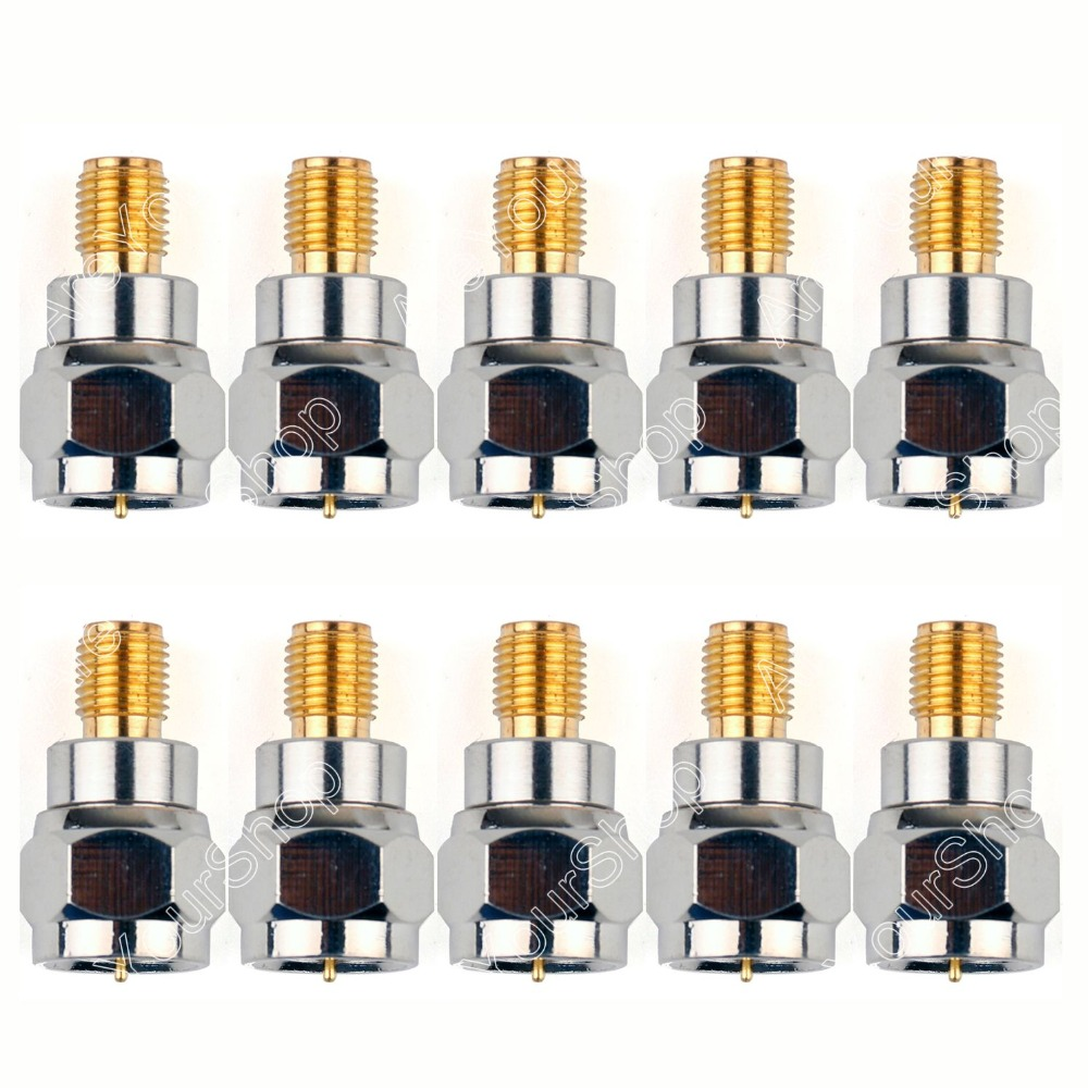 Areyourshop Sale 10 PCS Adapter F TV Plug Male To SMA Female Jack RF Connector Antenna Auto Radio Straight Wire Connector PTFE 5 x rf antenna fm tv coaxial cable tv pal female to female adapter connector