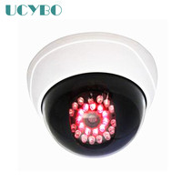 White Dummy Fake Indoor Security Surveillance Wireless Dome Camera Emulational 360L R Rotation Red LED Light