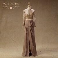 Роза Moda коричневый Кружево мать невесты платье одежда с длинным рукавом мусульманских mob платье официальная Вечеринка платье плюс Размеры ...