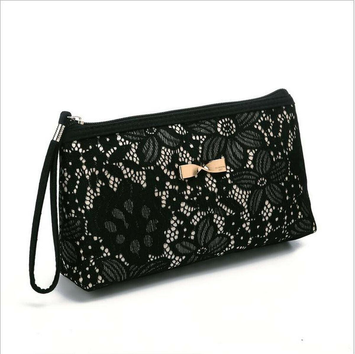 Fashion Women's Cosmetic Bag Solid Color Travel Ladies Wash Bag Lace Lace Makeup Bag Mini Clutch Bag