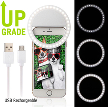 50pcs/lot Rechargeable USB Portable Selfie Flash LED phone Circle Ring Light for iPhone 6s 7 7Plus Samsung xiaomi huawei Oneplus(China)