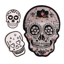 Skull Skeleton Grim Reapers Iron On Patch Embroidered Clothes For Clothing Woman Stickers Garment 10 pcs/lot