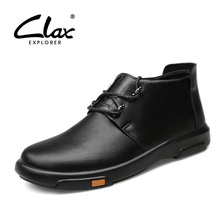 CLAX Mens Boot Leather 2019 Spring Autumn Casual Shoe Male cowboy boots Designer Handmade Walking Footwear Soft