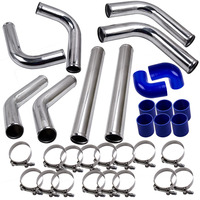 2 Universal 8PCS Turbo charger Front Intercooler Pipe Silicone Hose T Clamp Kit