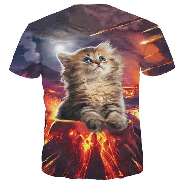 Volcano kitty 3D t-shirt