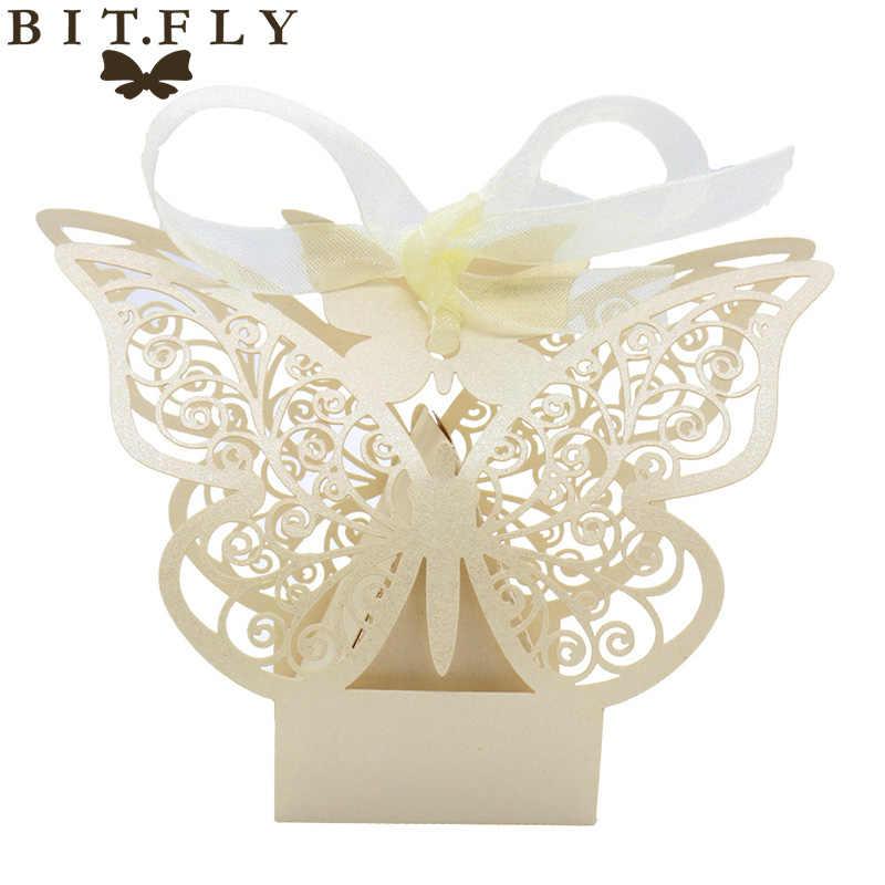 50 шт. Свадебная коробочка для сладостей подарочный пакет бумажный декор в виде бабочек для свадьбы или «нулевого дня рождения» сувениры для гостей вечерние мероприятия