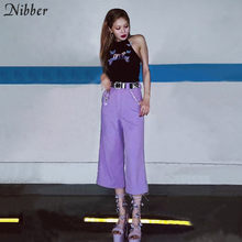 Nibber fashion high street paars flare broek vrouwen 2019 lente zomer nieuwe diamond decoratie wilde office dames casual broek(China)