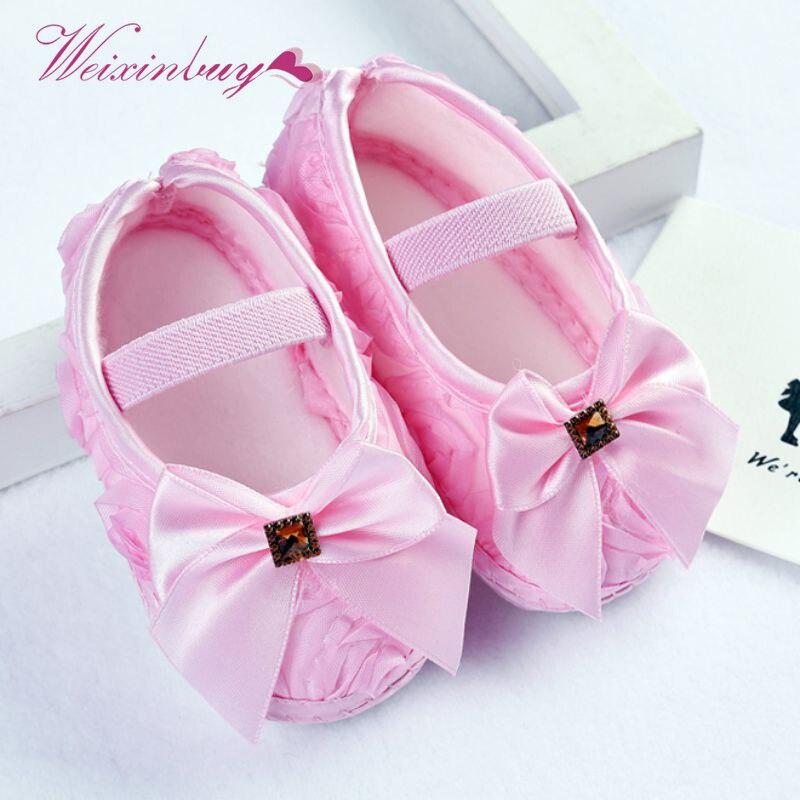 Baby Girls Shoes Noble Bow Flower Shallow Elastic Band Princess First Walker Toddler Infant Soft Sole Prewalker