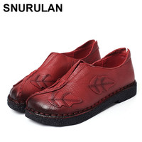 SNURULAN Soft hand hand sewn women shoes Leather fashion Mother work shoes casual comfortable female breathable flat shoesE108