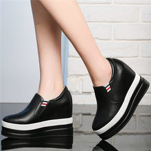 Creepers Women Shoes Genuine Leather Wedges High Heel Party Pumps Casual Platform Oxfords Punk Goth Trainers