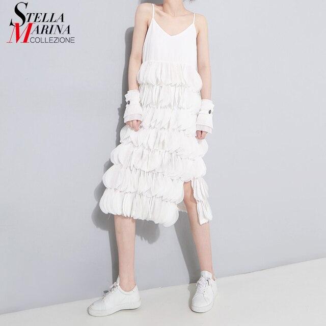 2018 Women Summer Sleeveless Black White Midi Chiffon Dress Spaghetti Strap  Layered Patches Stitched Party Sexy fe933e542475